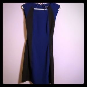 Tahari blue & black sleeveless dress NWOT